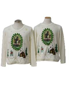 1980's Unisex Matching Pair of Ugly Christmas Krampus Sweaters