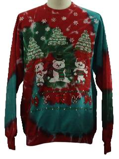 1980's Unisex Bear-riffic Ugly Tie-Dyed Christmas Sweatshirt