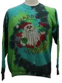 1980's Unisex Ugly Tie-Dyed Christmas Sweatshirt