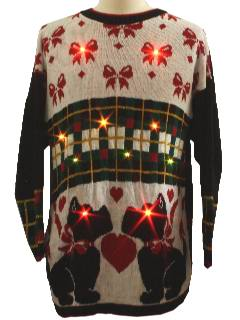 1980's Unisex Scottie Dog Ugly Lightup Christmas Sweater