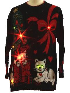 1980's Unisex Cat-Tastic Lightup Ugly Christmas Sweater