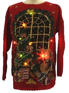 1980's Unisex Bear-riffic Lightup Ugly Christmas Sweater