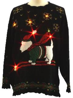 1980's Unisex Scottie Dog Lightup Ugly Christmas Sweater