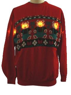 1980's Unisex Bear-riffic Ugly Lightup Christmas Sweatershirt