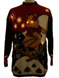 1980's Unisex Lightup Ugly Vintage Pooh Christmas Sweater