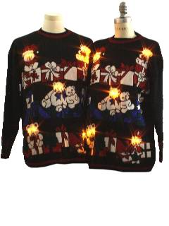 1980's Unisex Bear-riffic Pair of Matching Ugly Lightup Christmas Sweaters