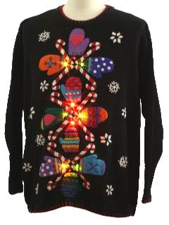1980's Unisex Attack of the Kitchy Mittens Ugly Lightup Christmas Sweater