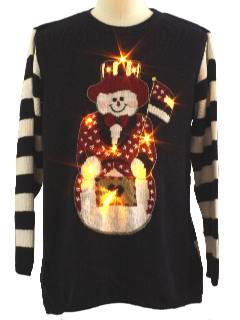 1980's Unisex Lightup Patriotic Snowman Ugly Christmas Sweater