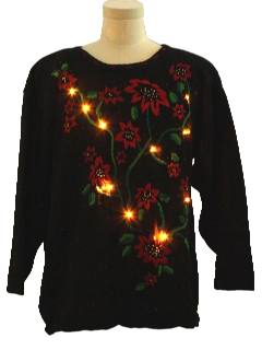 1980's Unisex Ugly Christmas Poinsettia Lightup Sweater