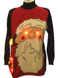 1980's Unisex Bespeckled Giant Santa Face Ugly Lightup Christmas Sweater