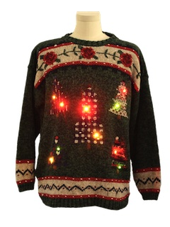 1980's Unisex Country Kitsch Style Lightup Ugly Christmas Sweater