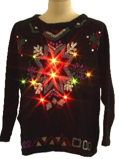 1980's Unisex Beaded Ugly Lightup Christmas Sweater