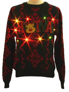 1980's Mens Lightup Ugly Christmas Sweater