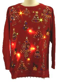 1980's Unisex Lightup Beaded Ugly Christmas Sweater