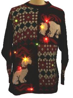 1980's Unisex Lightup Ugly Christmas Scottie Dog Sweater