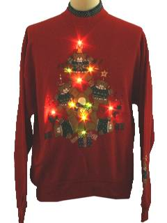 1990's Unisex Bear-riffic Lightup Ugly Christmas Sweatshirt