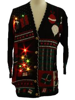 1980's Unisex Lightup Ugly Christmas Cardigan Sweater