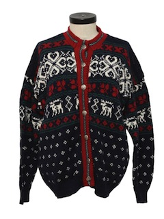 1980's Womens Nordic Style Cardigan Reindeer Sweater