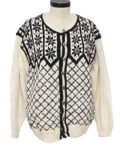 1990's Womens Cardigan Snowflake Ski Style Sweater