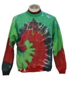 1990's Unisex Tie Dyed Ho Ho Ho Ugly Christmas Sweatshirt