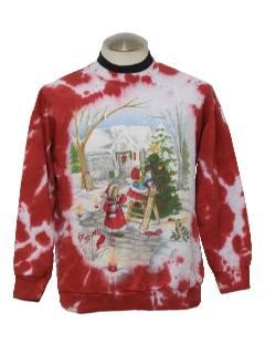 1990's Unisex Tie Dyed Ugly Christmas Sweatshirt