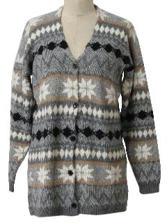 1980's Womens Oversized Snowflake  Cardigan Sweater
