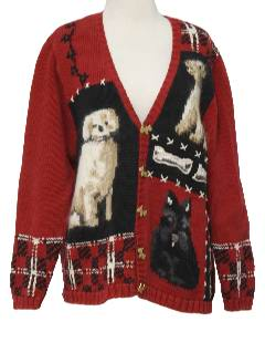 1990's Womens Dog Lovers Cheesy Ugly Cardigan Sweater