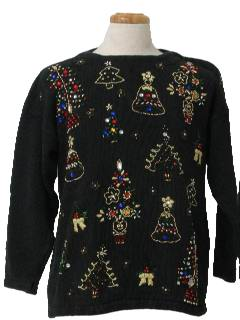 1980's Unisex Beaded Ugly Christmas Cocktail Sweater