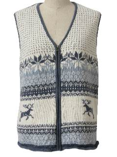 1990's Womens Reindeer Ski Sweater Vest