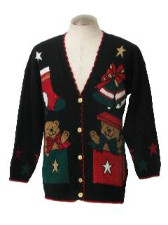 1980's Unisex Bear-ific Ugly Christmas Cardigan Sweater