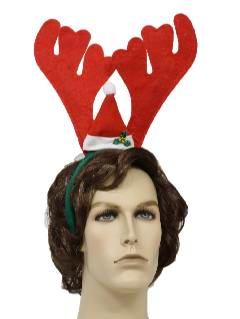 1990's Unisex Ugly Christmas Accessories - Red Reindeer Antlers with Santa Hat Headband