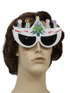 1990's Unisex Ugly Christmas Accessories - Cat Eye Christmas Tree Sunglasses