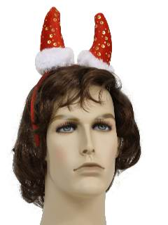 1990's Unisex Accessories - Ugly Christmas Horned Santa Hat Devil Headband, Perfect with your Ugly Christmas Krampus Sweater