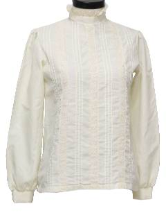 1970's Womens Lacey Frilly Shirt