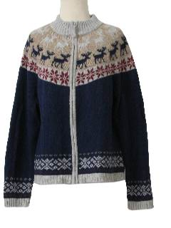 1990's Womens Reindeer and Snowflake Ski Sweater