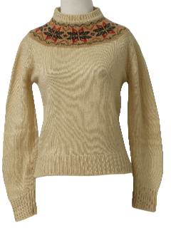 1970's Womens/Girls Snowflake Ski Sweater