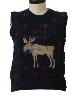 1980's Womens Totally 80s Moose Pullover Sweater Vest