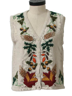 1990's Womens Cheesy Ugly Kitschy Fall Sweater Vest