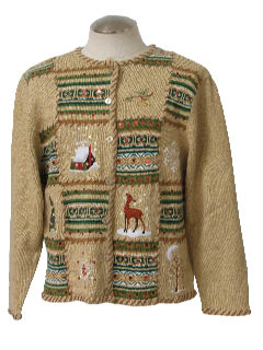 1980's Womens Country Kitsch Ugly Christmas Sweater