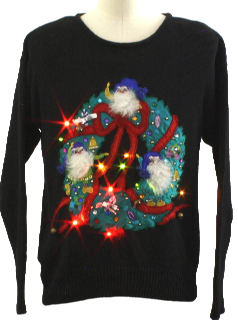 1980's Womens or Girls Ugly Lightup Christmas Sweater