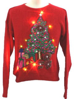 1980's Womens Ugly Lightup Christmas Sweater