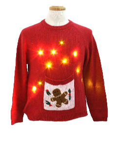 1980's Womens Lightup Ugly Christmas Sweater with Beer Pocket