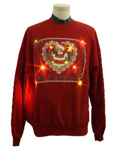 1980's Unisex Bear-riffic Kitschy Lightup Ugly Christmas Sweatshirt