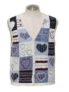 1980's Womens Cheesy Ugly Valentines Sweater Vest