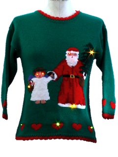 1980's Womens/Childs Lightup Ugly Christmas Sweater