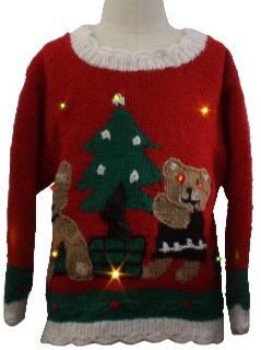 1980's Unisex/Childs Bear-riffic Lightup Ugly Christmas Sweater