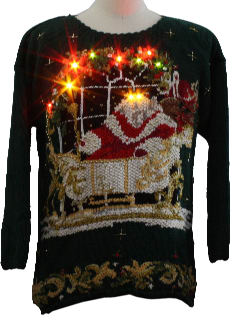 1980's Womens Jabba-The-Hut Lightup Ugly Christmas Sweater