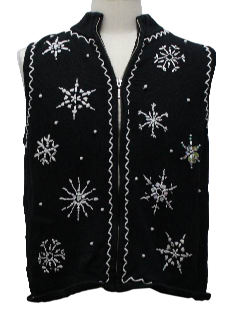 1980's Womens Not-So-Ugly Snowflake Christmas Sweater Vest