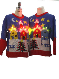 1980's Womens Matching Pair of Lightup Ugly Christmas Sweaters