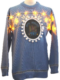 1980's Unisex Lightup Ugly Hanukkah Christmas Sweater